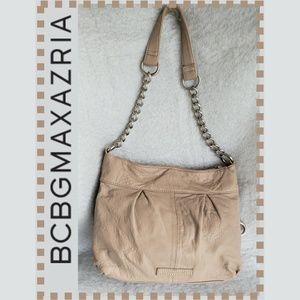 BCBGMAXAZRIA Taupe Textured Leather Shoulder Purse